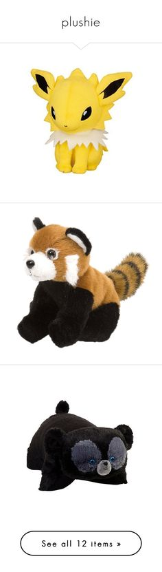"""""""plushie"""" by killjoy-717 ❤ liked on Polyvore featuring stuffed animals, plushies, pokemon, toys, plush, plushie, red panda, pillows, baby and fillers"""