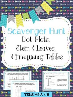 Get your students up and moving with this engaging Math Activity! Working with partners or small groups they will solve questions about Dot Plots, Frequency Tables and Stem and Leaves Scavenger Hunt Plot Activities, Fun Math Games, Math Resources, Plot Anchor Chart, Fourth Grade Math, Math Centers, Math Rotations, Math Workshop