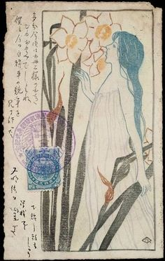 Woman with Narcissus woodcut Artist name unidentified but there is a monogram in lower right corner, initials TK