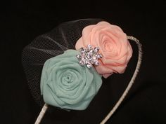 Peach Mint Rose Headband Hair Comb Clip Pin Bride Bridal Silk Wedding Rehearsal Dinner Flower Invitation Cream Blush Green Mint Sage Ivory