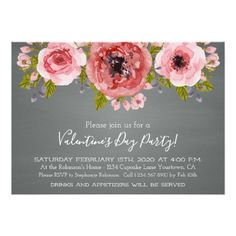 Watercolor Flowers Valentine's Day Party Card