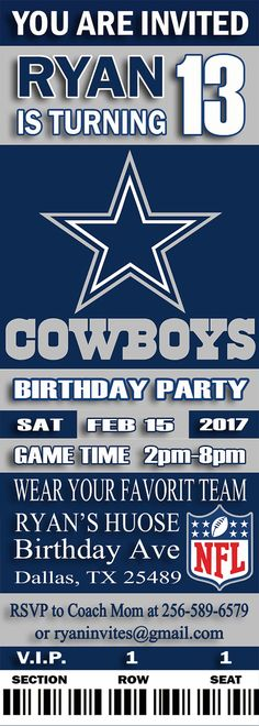 Nfl dallas cowboys birthday invitation dallas cowboys tickets nfl dallas cowboys birthday invitation dallas cowboys tickets cowboy tickets and nfl dallas cowboys filmwisefo