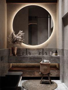 Home in Forest on Behance Bathroom Design Luxury, Bathroom Design Small, Zen Bathroom Decor, Bathroom Lighting, Decorative Plaster, Industrial Interiors, Bathroom Inspiration, Interior Design Living Room, Interior Modern