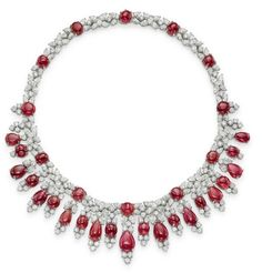 A Burma ruby and diamond fringe necklace, by Harry Winston