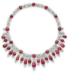 A Burma ruby and diamond fringe necklace, by Harry Winston
