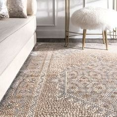 "nuLOOM Traditional Vintage Faded Medallion Stone Dot Border Area Rug (5' 3"" x 7' 6"" - Beige)"