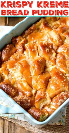 Kreme Bread Pudding Stale doughnuts get revived with this rich, heavenly Krispy Kreme Bread Pudding.Stale doughnuts get revived with this rich, heavenly Krispy Kreme Bread Pudding. Donut Recipes, Brunch Recipes, Baking Recipes, Breakfast Recipes, Chef Recipes, Breakfast Casserole, Breakfast Ideas, Bread Recipes, Recipies