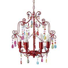 Lampadario rosso in metallo con pendenti D 37 cm BAHIA
