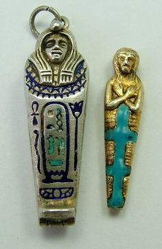 Large 1920s Egyptian revival silver & enamel sarcophagus charm that opens to reveal a fully removable gilt and enamel mummy inside, SUPERB - 98 gbp