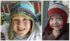 Upcycled boys hat from T shirts! Can't wait to make some!