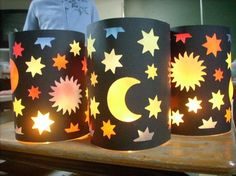 hand made lanterns in Germany ready for the Laternenlauf (lantern walk) in honour of St Martin