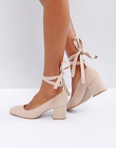 On SALE at 35% OFF! Wide Fit Tie Ankle Kitten heel Shoe by London Rebel. Heels by London Rebel, Faux-suede upper, Tie fastening, Slip-on style, Round toe, Block kitten heel, Wipe with a damp...