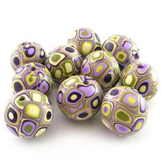 Polymer Clay Beads with Retro Pattern in Wassabi by RolyzCreations, $18.00