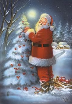 Santa's Christmas Tree by DBK-Art Licensing Beautiful Christmas Scenes, Christmas Scenery, Christmas Tree And Santa, Old Fashioned Christmas, Father Christmas, Christmas Pictures, Christmas Snowman, Christmas Greetings, Vintage Christmas
