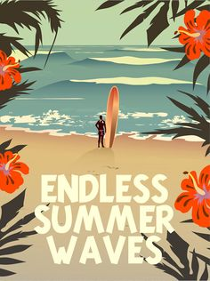 Retro vibes with this 'Endless Summer Waves' surf poster. Perfect for your campervan!