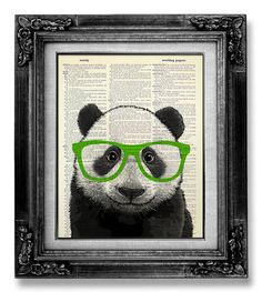 PANDA Art Green Glasses, Cute Home Office Decor, GEEKERY Art, Geek Art, HIPSTER Decor Wall Art, College Room Wall Decor, Geeky Nerd Poster