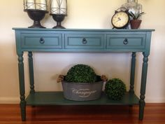 Turquoise 3 Drawer Console/Hall Table/TV Stand*French Provincial*Teal/Aqua