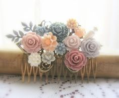 Mauve Wedding Taupe Hair Comb English Rose Gray Flower Head Piece Floral Head Comb Bridesmaid Flower Girl Gift Autumn Fall Soft Misty PM WR