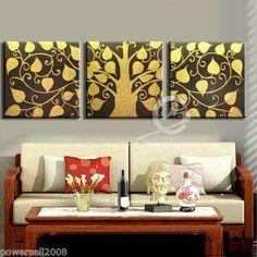 "1 5M Thai Style Golden Abstract Handmade Frameless Canvas Paintings SET""Bodhi"" | eBay"