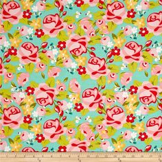 Riley Blake Hello Gorgeous Main Mint from @fabricdotcom  Designed by my Mind's Eye for Riley Blake Designs, this cotton print collection combines shabby chic with modern colorways and patterns. Perfect for quilting, apparel, and home decor accents. Colors include shades of pink, shades of green, yellow, white, and red.