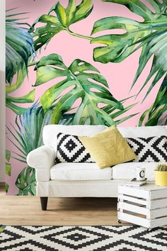 Pink Jungle Pink Jungle Blue Mungi delibabyblue ROOM This pink palm tree mural wallpaper from wallsauce will infuse your home with 2018 s nbsp hellip wallpaper pink Pink Jungle Wallpaper, Tropical Wallpaper, Tree Wallpaper Bedroom, Wall Wallpaper, Leaves Wallpaper, Wallpaper Wallpapers, Wallpaper Ideas, Tropical Home Decor, Tropical Interior