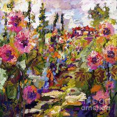 #Hollyhock #Painting #Gardens #Impressionist