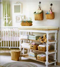 A 2005 photo from Longaberger's winter Wish List catalog -- Love this baby's room.