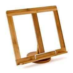 Buchständer aus natürlichem Material. Der Buchständer ist mit einem Seitenhalter ausgestattet. #bamboo #bookholder #reading