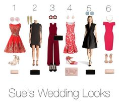 """Sue's Wedding Looks"" by arstylists on Polyvore featuring Halston Heritage, Roland Mouret, Verali, Stuart Weitzman, J.Crew, Steve Madden, Dorothy Perkins, Jimmy Choo, Dolce&Gabbana and Kenneth Jay Lane"
