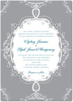 Baroque Scrolls black or smoke grey wedding invitations   100 invitation cards for $179, 189 rounded trim