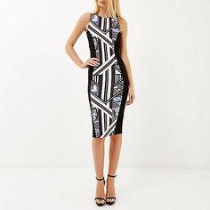 Black geo print sleeveless bodycon dress £35 #riverisland
