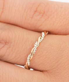 SALE Twist Ring - Stacker Ring - Thumb Ring - Gold Filled - Argentium Sterling Silver - Handmade Valentines Day on Etsy, $19.96