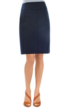 Newport Skirt-A classic pencil skirt in our superb Ponte fabric. It's fitted at the waist with a back zip, and a flattering band that accentuates your shape. Ease into a simply great fit! Navy is a must-have color for spring, and vertical style lines keep your silhouette looking trim.
