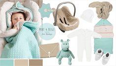 Mit dem Baby Unterwegs in beige & mint
