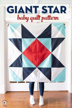 Free Baby Quilt Patterns, Baby Quilt Tutorials, Beginner Quilt Patterns, Star Quilt Patterns, Modern Quilt Patterns, Quilting For Beginners, Pattern Blocks, Modern Baby Quilts, Baby Pattern