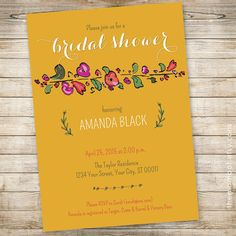 Bridal Shower Invitation: Spring Bride // 5x7 by TheMombot on Etsy