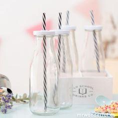 Botella pequeña de cristal con tapa y pajita #home #accessories #mrwonderfulshop
