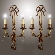 Antique 1940s Pair Bow Top French Louis XVI Double Arm Bronze Gold Wall Sconces #France