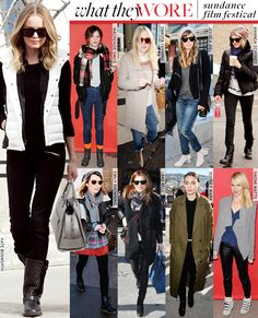 White on Black. Kate Bosworth's cover up during the Sundance is simple, stylish and comfy. The white dune vest on all black makes for a crisp monochromatic look in Winter.  However, some of the other celeb spotting resemble that of the homeless - just saying.