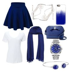 """""""Blue, White, and Silver Under $50"""" by taoptimist on Polyvore featuring Steve Madden, Jessica Simpson, Casetify, Rolex, Dee Berkley, under50 and skirtunder50"""