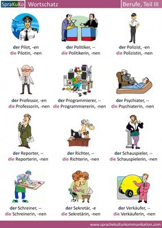Berufe auf Deutsch. Hier finden Sie 36 Berufe. Zu jeder Berufsbezeichnung finden Sie jeweils die maskuline und feminine Bezeichnung.