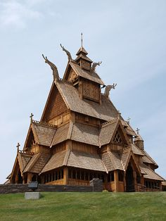 These traditional Scandinavian buildings are two of the things you can see at the Scandinavian Heritage Park in Minot, North Dakota.   (stave church)