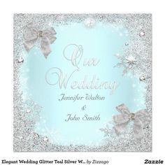 Elegant Wedding Glitter Teal Silver White Bow