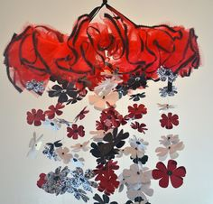 Damask Flower Mobile Red White Black Nursery Decor Baby by Sastara