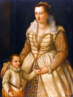 Circle of Alessandro Allori - PORTRAIT OF A LADY AND HER SON  oil on panel