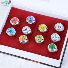 HOT Anime Naruto Rings 10pcs Akatsuki Cosplay Member's Full Set Sasori Itachi Hidan Deidara Costume Accessories