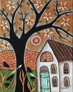 Painting by Karla G Karla Gerard, Illustrations, Illustration Art, Scandinavian Folk Art, Cottage Art, Guache, Arte Pop, Naive Art, Whimsical Art