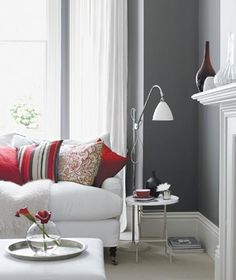 Paint Color    Deep gray walls create a cozy haven, making red accents even more dramatic.  To buy: Gray Shower 2125-30 (similar to shown), from $41 a gallon, benjaminmoore.com for stores.