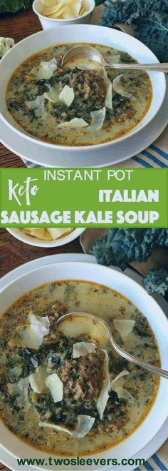 Create a hearty, comforting low carb soup in your Instant Pot. This soup is easy… Create a hearty, comforting low carb soup in your Instant Pot. This soup is easy, delicious, freezes well and actually tastes even better the next day. Best Soup Recipes, Low Carb Vegetarian Recipes, Healthy Soup Recipes, Keto Recipes, Paleo Vegan, Sausage Recipes, Sausage And Kale Soup, Italian Sausage Soup, Italian Sausages