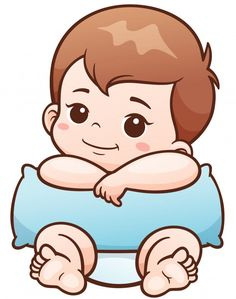 Vector Illustration of Cartoon Cute Baby with pillow Cartoon Cartoon, Baby Cartoon Drawing, Baby Cartoon Characters, Cartoon Drawings, Clipart Baby, Bebe Vector, Dibujos Baby Shower, Baby Posters, Baby Illustration
